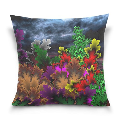 Vipsk Cushion Case Pillow Cover Pillowcase Square 20 x 20 Inch Velveteen Colorful Flowers
