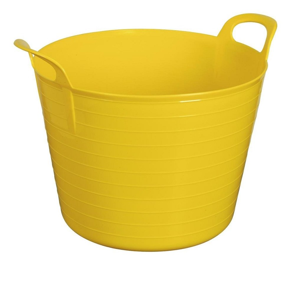 YELLOW 42 Litre Large Flexi Tub Garden Home Flexible Colour Rubber Storage Container Bucket Polyethylene Flex Tub - MADE IN U.K. UK