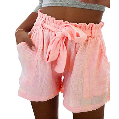 Clearance Sale!FarJing Women Hot Pants Casual Loose Shorts Beach High Waist Short Trousers (S, Pink 2)