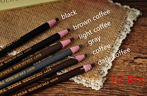 Colored Permanent Pencil (12 Pcs Microblading Eyebrow Peel-off Pencil 6 Colors WaterProof Soft Coloured Pencil Permanent Makeup Maker Liner)