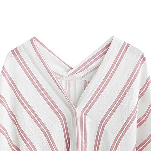 Batwing Mujer Blusa Corta V Causales De En Manga Rayas Con Botones Pink Camisas Cuello gtgq6