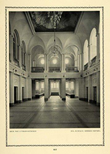 1913 Print Large Vestibule Interior Entrance Vault Max Littmann German Architect - Original Halftone Print