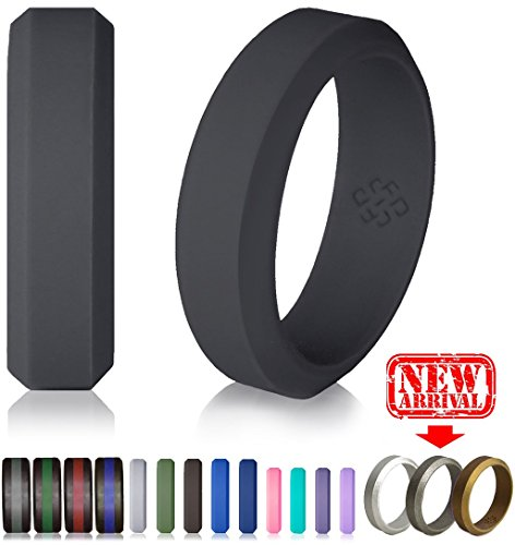 Knot Theory Silicone Wedding Ring - 6mm Band for Superior Comfort, Style, and Safety (Dark Grey, Size - Fashion Bans