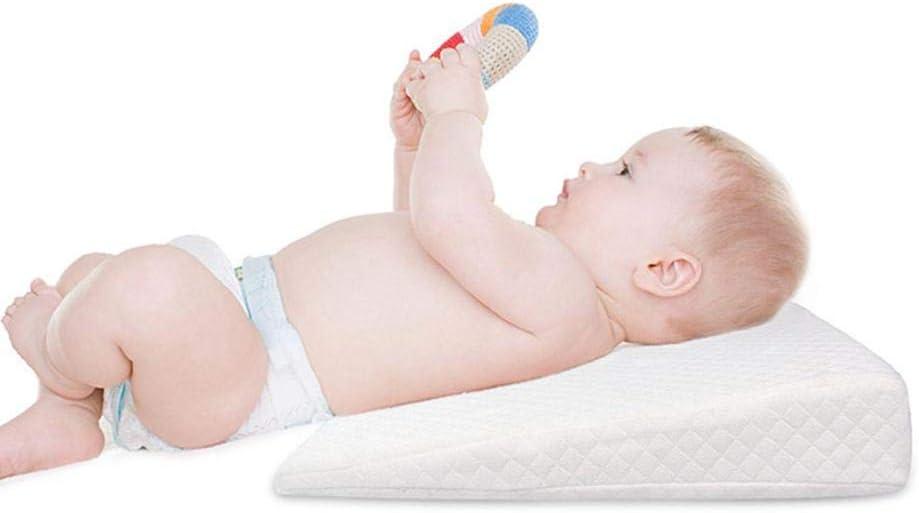 happygirr Cuña Antireflujo Bebe | Almohada Inclinada para cólicos bebé - Plegable Almohada de cuña de Cama de Espuma con Funda Lavable extraíble (Blanco)