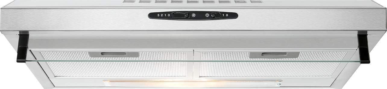 Bomann DU 623.3 Campana extractora 60cm, recirculación de Aire o por conducto, 3 Niveles Potencia, filtros extraibles de Aluminio Lavables, Acero Inoxidable