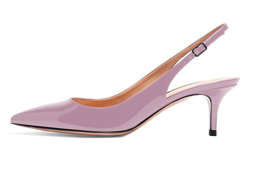 ELASHE - Zapatos de Tacón Clásicos Espigones con Hebillas y Tiras en la Parte Trasera para Mujer 35-45 EU 39 EU|Luz púrpura