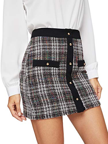 - WDIRARA Women's Elegant Button-Up A-Line Mid Waist Plaid Short Skirt Multicolor-1 L