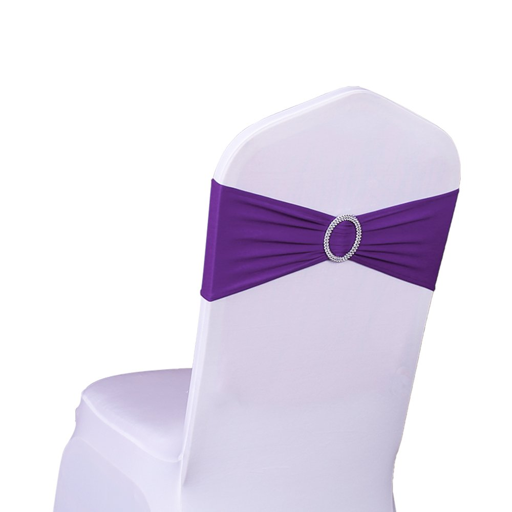 LTD. SINSSOWL Pack of 50PCS Elastic Slider Chair Sashes Spandex Chair Cover Band Bows for Wedding Decoration-Apple Green JUNBO CRAFT CO