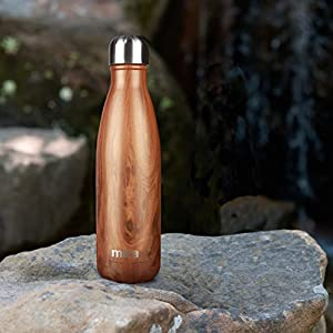 MIRA Double Walled Stainless Steel Cola Shape Water Bottle, 17-Ounce - Wood
