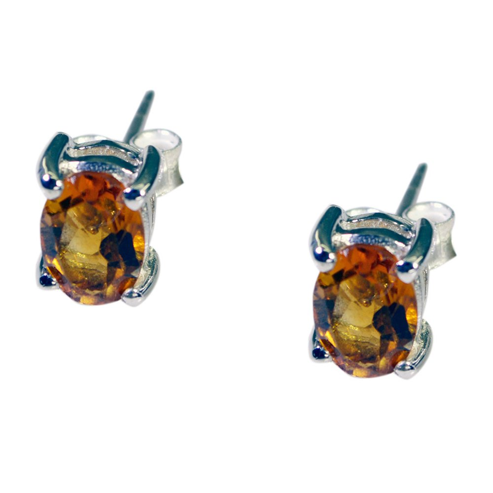 Jewelryonclick Genuine Citrine Earings For Women Fashion 925 Silver Oval Birthstone One Pair Jewelry