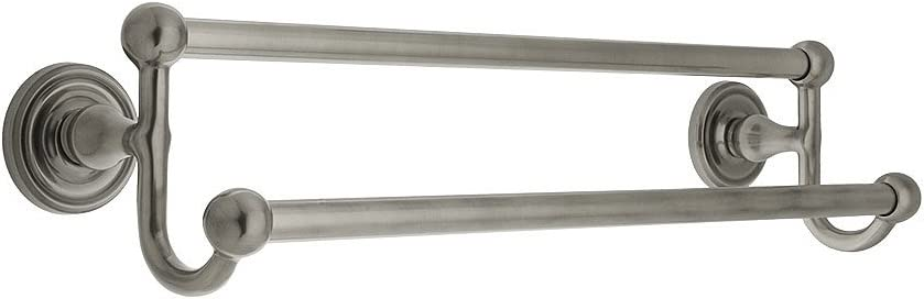 """18"""" Brass Double Towel Bar with Regular Rosettes in Antique Pewter"""