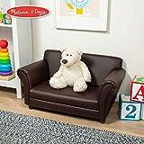 Melissa & Doug Child's Sofa, Coffee Faux Leather Children's Furniture (Kid-Sized Sofa, Sturdy Construction & Quality Materials, 34.4' H x 20.5' W x 18.3' L) (Renewed)