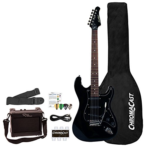 Sawtooth 6 String Right Handed Electric Guitar with Pickguard, Black (ST-ES-BKB-BEG-KIT) by Rise by Sawtooth
