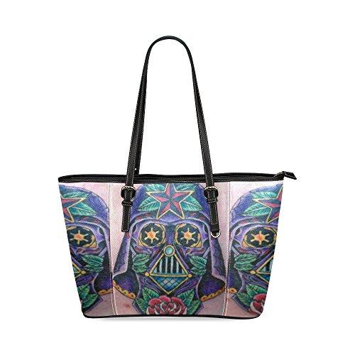 Darth Vader Sugar Skull Women's Mosaic High-grade PU Leather Large Tote Bag/Handbag/Shoulder Bag (Darth Vader Purse)