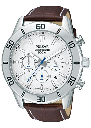 (Pulsar Men's Genuine Leather Strap Chronograph Watch with Date - PT3433X1)