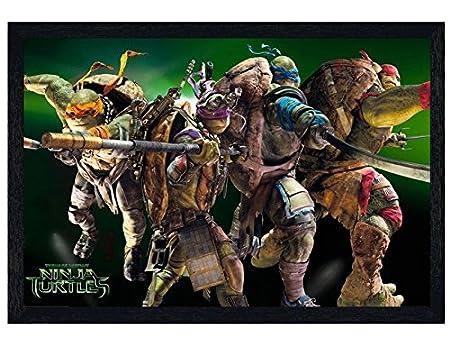 Las tortugas Ninja negro enmarcado de madera foto de grupo ...