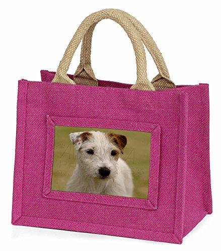 Advanta–Mini Pink Jute Tasche Parson Russell Terrier Hund Little Mädchen klein Einkaufstasche Weihnachten Geschenk, Jute, pink, 25,5x 21x 2cm