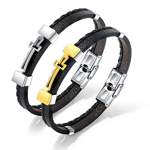 JC Fashion Jewelry Mens Stainless Steel Braided Leather Christ Catholic Cross Wristband Christian Holy Bracelet (Silvery) - Cross Wristband