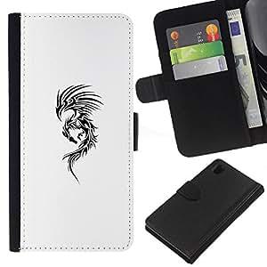 For Sony Xperia Z1 L39 Case , Art Ink Black White Dragon Abstract - la tarjeta de Crédito Slots PU Funda de cuero Monedero caso cubierta de piel