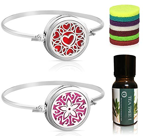 - Bella Therapy Heart Star Flower Diffuser Bracelet Pendant Locket Jewelry, Stainless Steel 2PCS Sets with Bonus Tea Tree Aromatherapy Essential Oil Gift Present