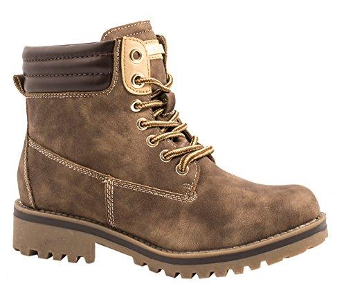 Elara Warm Gefütterte Stiefeletten | Profilsohle Schnürrer | Worker Boots |chunkyrayan Khaki