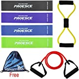 CRHA Resistance Loop Bands Set, Exercise Bands with 2 Ankle Straps and 1 Carrying Bag for Exercise Straps Sporting Goods Set of 6