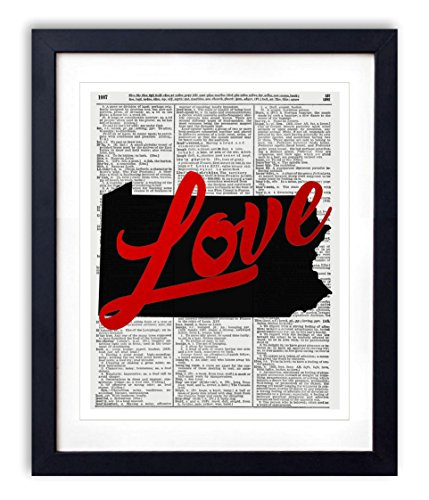 - Pennsylvania Love Red Foil Stamped Art Print - Vintage Dictionary Reproduction Art Print