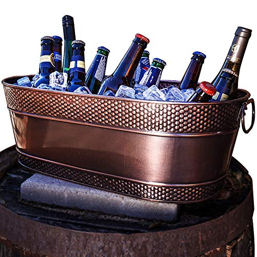 BREKX Colt Copper Finish Galvanized Hammered Beverage Tub - 17 Quart (Metal Tubs Drinks Large For)
