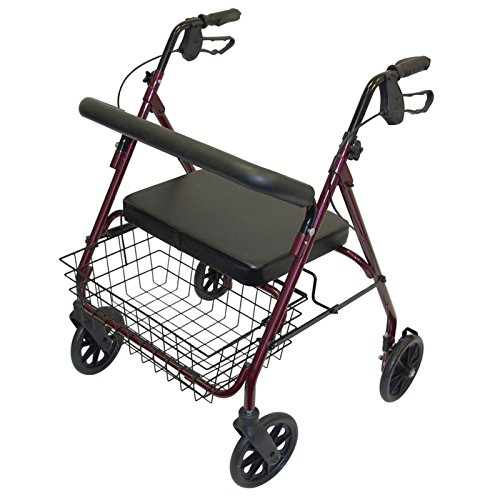 Days Heavy Duty Steel Bariatric Rollator, Adjustable Rolling Walker with Seat for Elderly, Disabled, Limited Mobility Patients, Walking Stabilizer with Four Wheels, 700 lb. Weight Capacity