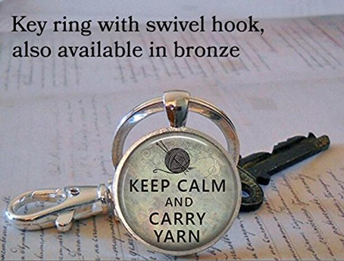 Keep Calm and Carry Yarn keychain, knitting keychain, knitting jewelry, knitters keychain, knitter's gift key chain purse hook hanger