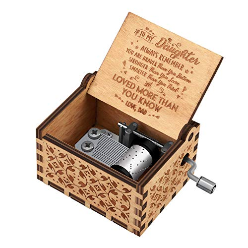 You are My Sunshine Wood Music Boxes,Laser Engraved Vintage Wooden Sunshine Musical Box Gifts for Birthday/Christmas/Valentine's Day (Wood-Dad to Daughter)
