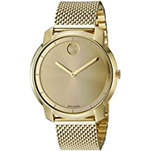 Movado Women's BOLD Thin Yellow Gold Watch with a Printed Index Dial, Gold (Model 3600242)