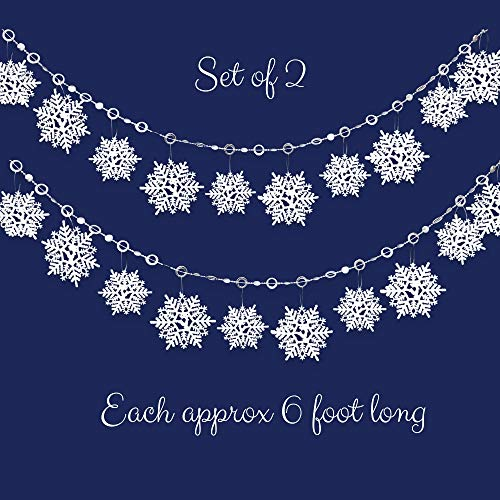 BANBERRY DESIGNS White Snowflake Garlands- Set of 2 - Approx 6FT Each - Holiday Banners with Glittery White Snowflakes - White Christmas Decorations