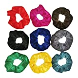 20 Pcs Hair Scrunchies Velvet Elastic Hair Bands Chiffon Scrunchy Hair Ties Ropes for Women or Girls Hair Accessories - 20 Assorted Colors Scrunchies. (C-9 Pcs, Multicolor)