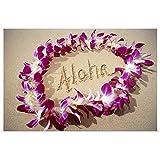 GREATBIGCANVAS Poster Print Entitled Hawaii, Purple Orchid Lei On Beach, Aloha Written in Sand by Mary Van de Ven 18'x12'