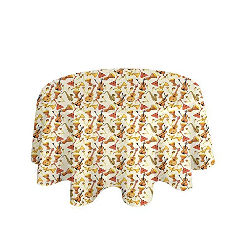 - Curioly Jazz Music Washable Tablecloth Pattern with Horn Drum Guitar and Fiddlestick Folk Music Ensemble Instruments Dinner Picnic Home Decor D51 Inch Multicolor