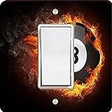 Rikki Knight Pool Billiards Ball on Fire Single Rocker Light Switch Plate