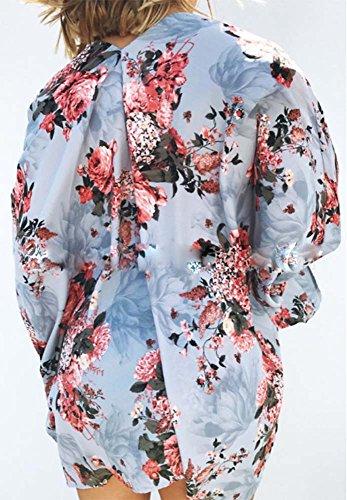 da collo con sciallato a Grembiule donna a floreale in scialle stampa Blu chiffon H6xaWd