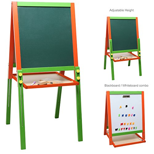Toddler Adjustable Easel (Children's Wood Double-Sided Art & Activity Easel with Chalkboard, Dry Erase White Board & Storage Shelf)