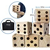 EasyGoProducts Large DICE Game - Giant Wooden Yard DICE Set - DICE with Bag DICE Games Kids - Great Lawn and Family Game