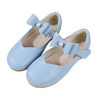 F-OXMY Girls Bowknot Dress Strap Ballet Shoes Comfy Shiny Mary Jane Shoes Toddler//Little Kid//Big Kid