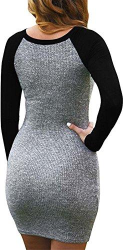 Manches Longues Moulante Robe T-shirt Couleur Multi Femmes Kissky