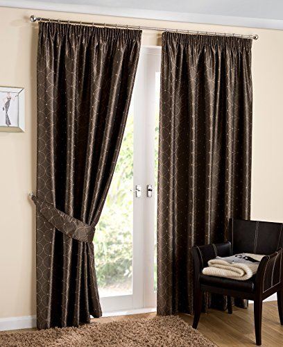 Luxury Abstract Circles Woven Lined Ready Made Pencil Pleat Curtains, Coffee / Brown - 64 x 54 by HLS curtains by HLS curtains