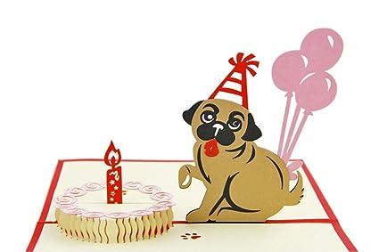 IShareCards Handmade 3D Pop Up Childrens Birthday Cards Dog And Cake Happy