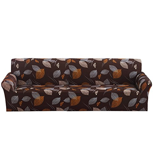 3 Seater 2 Seater - ELEOPTION Stretch Fabric Sofa Slipcover 1 2 3 4 Piece, Elastic Sectional Sofa Cover Slipcover Protector Couch Pure Color For Moving Furniture Living Room (Brown-Leave, Three seater(70''-90''))