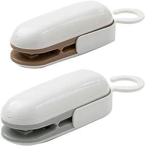KEKU2 packs of sealing machine and paper cutter handheld portable mini sealing machine 2-in-1, plastic bag food storage snack bag fresh-keeping bag (excluding battery)