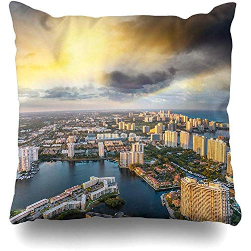 Throw Pillow Cover Cushion Case Square 18x18 Inch Sky Blue Aerial Skyline Miami Beach Helicopter Sunset Natural Parks Green Florida South America American Home Decor