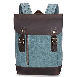 8241d9ffe88cf 5 ALL Damen Herren Studenten Vintage Retro Canvas Leder Rucksack  Schultasche Reisetasche Daypacks Uni Backpack 15