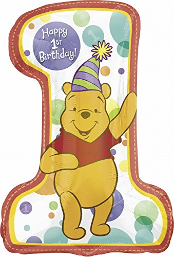 Birthday Balloon - Pooh First Birthday 28 Inch Mylar Foil (Pooh Foil Balloon)