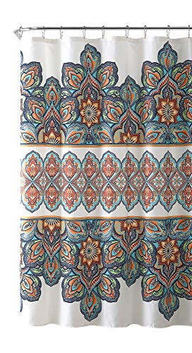 VCNY Home Bohemian Aqua Blue Orange Fabric Shower Curtain: Colorful Floral Eclectic Design